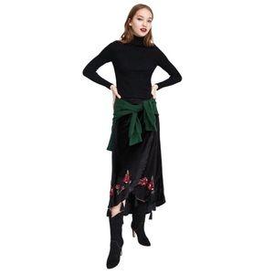 Zara Velvet Crossover Tassel Embroidered Skirt